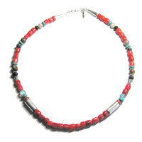 Navajo Tommy Singer Coral Turquoise Multi Stone Bead Necklace