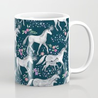 Unicorns and Stars on Dark Teal Mug by micklyn