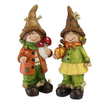 Set of 2 Boy and Girl Scarecrow Kids Decorative Table Top Figurines 7.75""