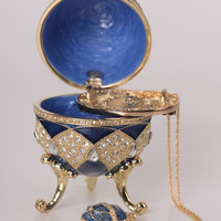 Blue Faberge Egg with Egg Pendant Inside Handmade Trinket Box by Keren Kopal Decorated with Swarovski Crystals Gold Plated