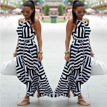 Women Geometric Print Boho Long Maxi Dress