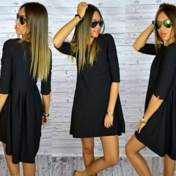 Popular women dress half sleeve dresses dovetail dress loose