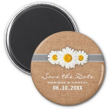Daisy Ribbon - Burlap Gray & White Save the Date 2 Inch Round Magnet