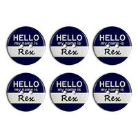 Rex Hello My Name Is Plastic Resin Button Set of 6