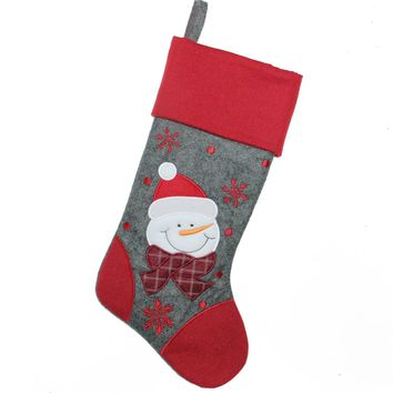 """18"""" Gray and Red Embroidered Snowman Christmas Stocking"""