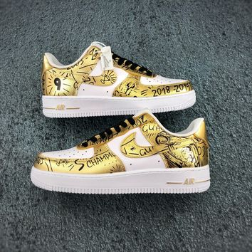 Nike Air Force 1 Low White Gold Black Sneaker - Best Deal Online