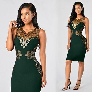S-3XL Plus Size Women Summer Hip Dress Sexy Party V Neck Sleeveless Lace Stitching Bodycon Midi Pencil Dresses Red Green Purple