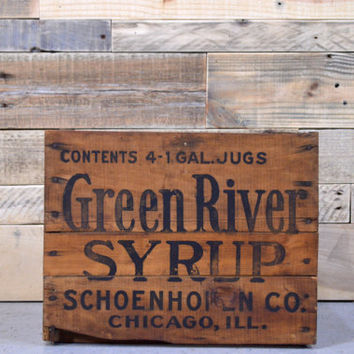 RARE Vintage Wood Crate, GREEN RIVER Syrup Crate, Green River Soda