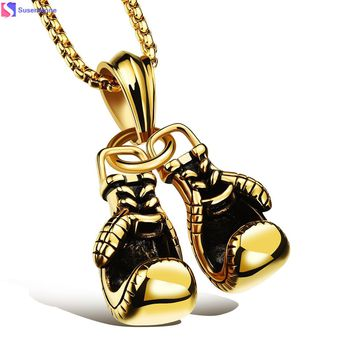 Stainless Steel Pendant Pair Boxing Gloves Necklace