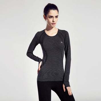 Ladies Quick Dry Gym Long Sleeve Stylish Yoga T-shirts [6050468353]