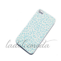 BLUE LEOPARD iPhone hard plastic case iPhone 5 iPhone 4 samsung galaxy s3 white case hot trendy cute