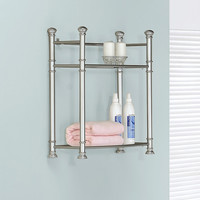 "Satin Nickel Metal 26""H Wall Mount Shelf / Tempered Glass"