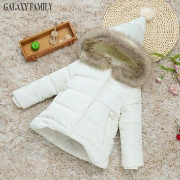 New Arrival 2017 girls fashion girls down coat warm thick baby girl winter jacket little kids clothing padded coats boutique