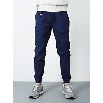 Mens Drawstring Jogger Pants in Navy