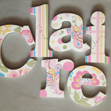 Flower Garden Wooden Wall Name Letters / Hangings, Hand Painted for Girls Rooms, Play Rooms and Nursery Rooms