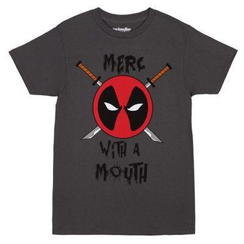 Deadpool Merc Mouth Logo Marvel Comics Licensed Adult Unisex T-Shirt - Gray - XL