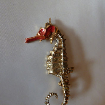 Vintage Spanish Damascene sea horse brooch pin red enamel accent costume jewelry