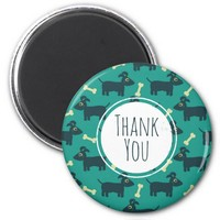 Cute Dog Pattern with Bone Thank You Magnet