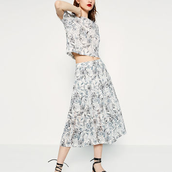 CUT WORK EMBROIDERED SKIRT - Midi-SKIRTS-WOMAN | ZARA United States