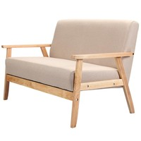 Wooden Low-Seat Armchairs, Two Seat Sofa in Fabric - Free Shipping