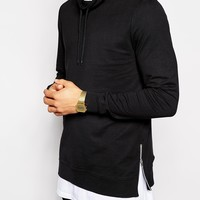 ASOS Sweatshirt With Funnel Neck And Side Zips