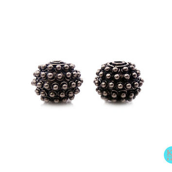 Two 925 Sterling Silver Bali Granulation Beads, 12mm, 5.35grams, Two Sterling Silver Barrel Granulation Beads Handmade in Bali