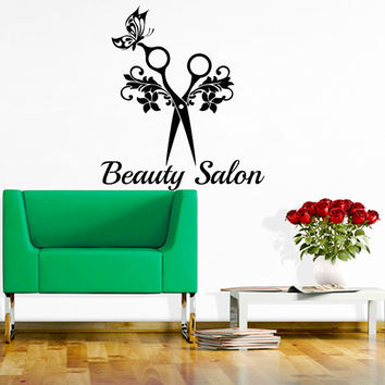 Wall Decal Beauty Salon Hair Salon Fashion Girl Scissors Haircut Hairdressing Barbershop Decals Vinyl Sticker Wall Decor Art Mural  MN471