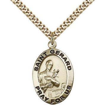 """Saint Gerard Medal For Men - Gold Filled Necklace On 24"""" Chain - 30 Day Money... 617759550641"""