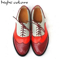 Hight Colors Brand Shoes 2018 Genuine Leather Big Woman Size 10.5 Vintage Flat Shoes Round Toe Handmade Oxford Shoes For Women