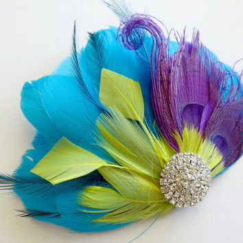 Wedding Feather Hair Accessories, Feather Fascinator, Bridal, Hair Accessory, 1920s, Peacock,Blue, Yellow, Purple,Aqua, Hair Clip