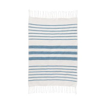Striped Cotton Hand Towel - Peacock Teal