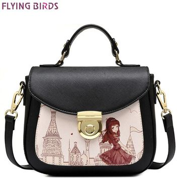 FLYING BIRDS Womens Patterned Designer Tote Messenger Cross Body Shoulder Handbag LM3946fb