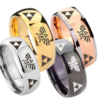 Tungsten Ring 8MM Triforce & Legend of Zelda Glossy Classic Dome Tungsten Carbide Wedding Band Ring Sz 7-14