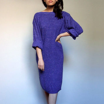 Oversized Sweater Dress 80s Indigo Knit Silver Metallic Long Sleeve Winter Dress - Small Medium Large S M L