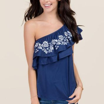 Alean One Shoulder Ruffle Embroidered Top