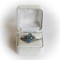 Sterling Silver Aqual Colored  Round Cut CZ Floral Cluster Ring in Filigree Setting