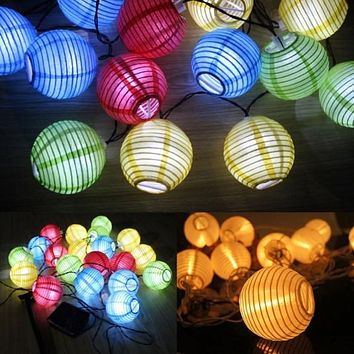 New Ball Lantern 30pcs LED Solar Power String Light Decorative Wedding Party Outdoor Light US Plug