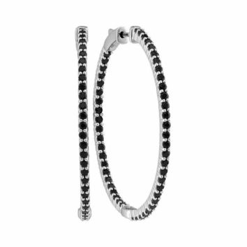 14kt White Gold Women's Round Pave-set Black Sapphire Inside Outside Hoop Earrings 3-3-4 Cttw - FREE Shipping (USA/CAN)