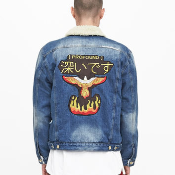 Denim Flame Shearling Trucker Jacket