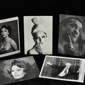 Vintage Postcards B&W Hollywood Set of 5 Printed 80s 90s Copywright 50s 60s Sophia Loren Elizabeth Taylor Sammy Davis Jr Andy Warhol