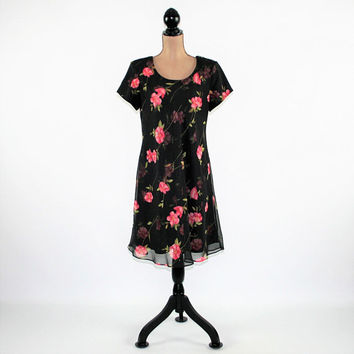 e64833516c91 Pink and Black Floral Dress Women Large Short Sleeve Chiffon Midi Dress  Size 12 Dress Jessica