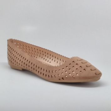 Women's Tan Pointed Flats with Laser-cut Design