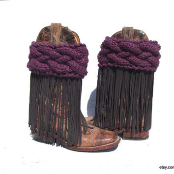 Knit Boot Cuffs, Fringe Boots, Boho Boot Covers, Boho Boot Cuffs, Leather Fringe, Cowgirl Boot Covers, Handmade Fringe, Hand knit Boot Cuffs