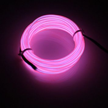 Seasons Treasure Neon Glowing Strobing Electroluminescent Wire Belt tape /El Wire Kit With Battery Controllers For Home,Party,Halloween Decoration. (15ft, Pink)