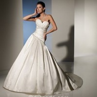 [$208.99] Strapless Sweetheart Sexy Ivory Ball Gown Floor-length Sleeveless Taffeta Wedding Dress with beading