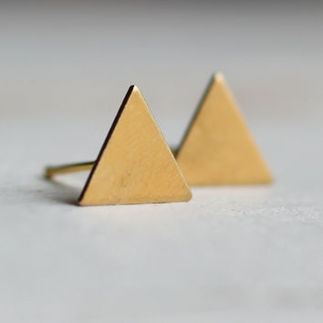 Triangle Earrings ... Geometric Deco Tiny Gold Post Vintage Brass Studs