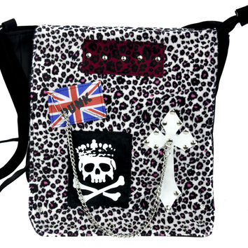 Pink & White Leopard Velvet Punk Sling Bag Messenger Purse Gothic Deathrock