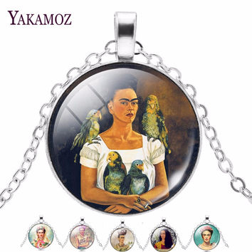 Frida Kahlo Glass Cabochon Statement Necklaces Women Fashion Jewelry Silver Plated Color Choker Necklaces Best Friends Gift