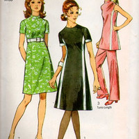 Simplicity 70s Sewing Pattern Basic A-line Colorblock Dress Band Collar Tunic Straight Leg Pants Casual Day Uncut Bust 38 Plus Size