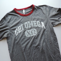 New Chi Omega Bella Canvas Ringer Tee Short Sleeve Shirt // Size MEDIUM // Ready To Ship